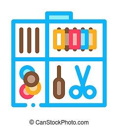 vecteur, icône, illustration, cas, kit, contour, couture