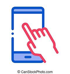 vecteur, icône, illustration, main, poussée, téléphone, ...