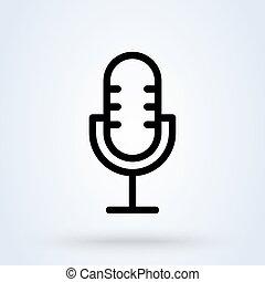 vecteur, icône, microphone, conception, simple, ligne, illustration., moderne