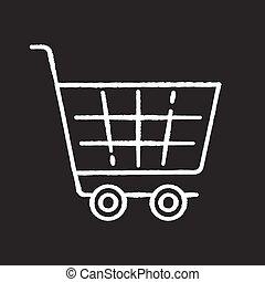 vecteur, icône, noir, symbole., basket., commercer, magasin, commodité, blanc, achats, craie, charrette, commerce, épicerie, arrière-plan., supermarché, magasin, tableau, checkout., isolé, purchase., trolley., illustration