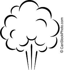 vecteur, icône, nuage, vapeur, air
