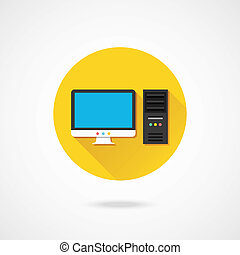 vecteur, icône ordinateur