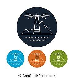 vecteur, icône, phare, illustration