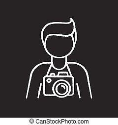 vecteur, icône, photojournaliste, noir, employee., indépendant, paparazzi, photo, photographie, art., blanc, craie, opérateur, arrière-plan., photographe, tableau, studio, cameraman., isolé, illustration