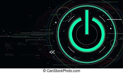vecteur, icône, sci-fi, technologie, fond, puissance, illustration technologie, futuriste, bouton marche