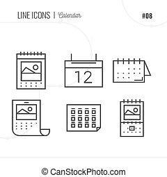 vecteur, icône, style, illustration, de, calendar., ligne, icônes, set.