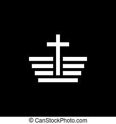 vecteur, icônes, église, symboles, religieux, signes, christianisme