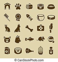 vecteur, icônes, chouchou, -, collection, chats, chiens, soin