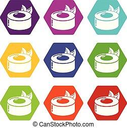vecteur, icônes concept, sushi, ensemble, 9