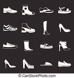 vecteur, icônes, ensemble, gris, chaussure