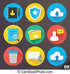 vecteur, icônes, ensemble, web., 9.