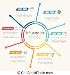 vecteur, icônes, lignes, infographic, gabarit, rapport, fait