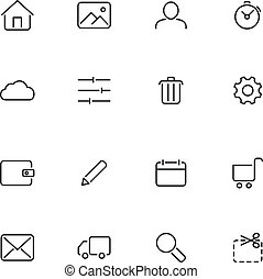 vecteur, icônes, pour, toile, interface.