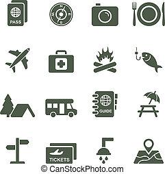 vecteur, icônes, pour, voyage, et, tourism.