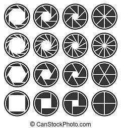 vecteur, icônes, set., foyer, volet, appareil photo, ouverture