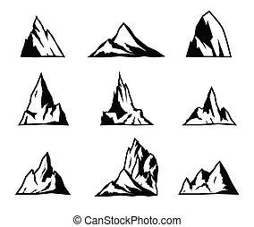 vecteur, icônes, silhouettes., set., montagne