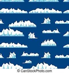 vecteur, iceberg, modèle, eau, isolé, illustration