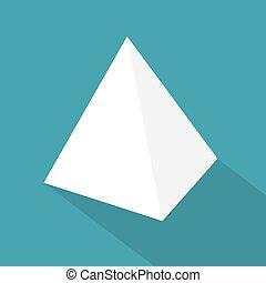 vecteur, icon-, blanc, tétraèdre, illustration