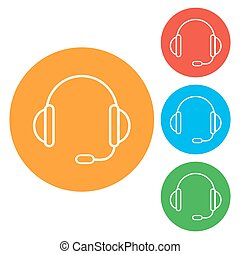 vecteur, icon., coloré, rond, boutons, soutien, headset.