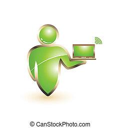 vecteur, icon., concept, gens, wifi