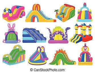 vecteur, icon., dessin animé, icône, castle., isolé, blanc, château, trampoline, ensemble, illustration, gonflable, arrière-plan.