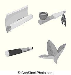 vecteur, icon., fumer, mal, stockage, illustration., équipement, ensemble, illustration