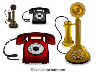 vecteur, illustrati, -, retro, téléphone