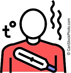 vecteur, illustration, élevé, couleur, température, corps, ...