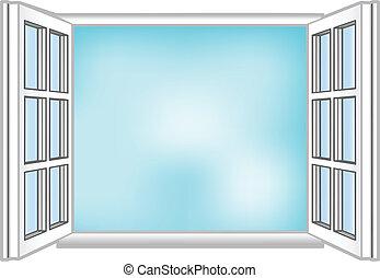 vecteur, illustration, a, fenêtre, et, les, ciel