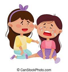 vecteur, illustration, ami, elle, girl, pleurer, ...