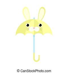 vecteur, illustration, animal, lapin, parapluie, type caractère jaune