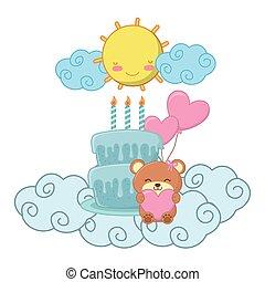 vecteur, illustration, anniversaire, bébé, fête, éléments
