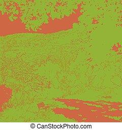 vecteur, illustration., arbre, banc, park., sous