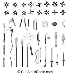 vecteur, illustration, arme, étoiles, ninja, dessin animé