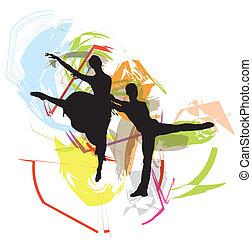 vecteur, illustration, ballet