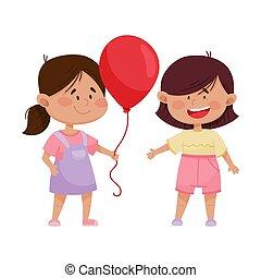 vecteur, illustration, balloon, ami, cheeked, rouges, girl, ...