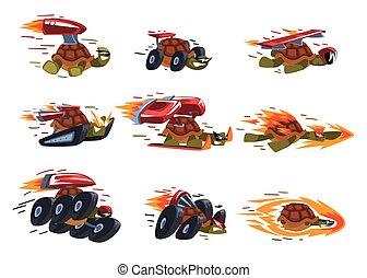 vecteur, illustration, boosters, vitesse, fond blanc, jeûne, brûler, caractères, tortues, animaux, dessin animé, collection, turbo