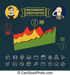 vecteur, illustration., business, clip-art, infographic, éléments
