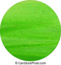 vecteur, illustration, cadre, isolé, peinture aquarelle, spot., blanc vert, cercle, rond, fond, gabarit