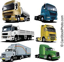 vecteur, illustration, camions