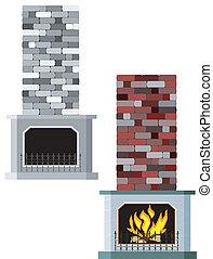 vecteur, illustration, cheminées