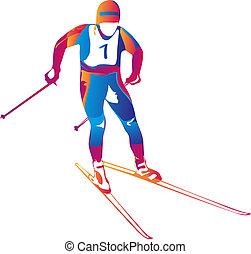 vecteur, illustration, coloré, skieur