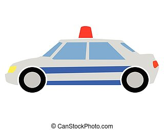 vecteur, illustration, coloré, voiture, police