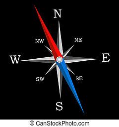 vecteur, illustration., compass.