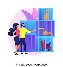 vecteur, illustration., concept, résumé, abri, animal