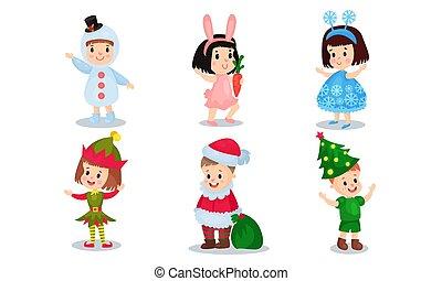 vecteur, illustration, costumes, fond, isolé, blanc, ensemble, noël, gosses