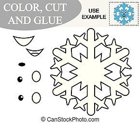 vecteur, illustration., créer, color., jeu, papier, image, children., flocon de neige