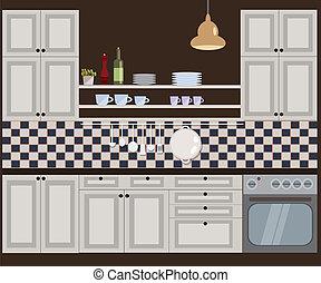 vecteur, illustration, cuisine