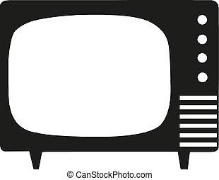 vecteur, illustration, démodé, tv