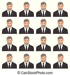 vecteur, illustration, de, a, figure, expressions, ensemble